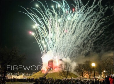 Photo of fireworks exploding out of Cliffords Tower in York